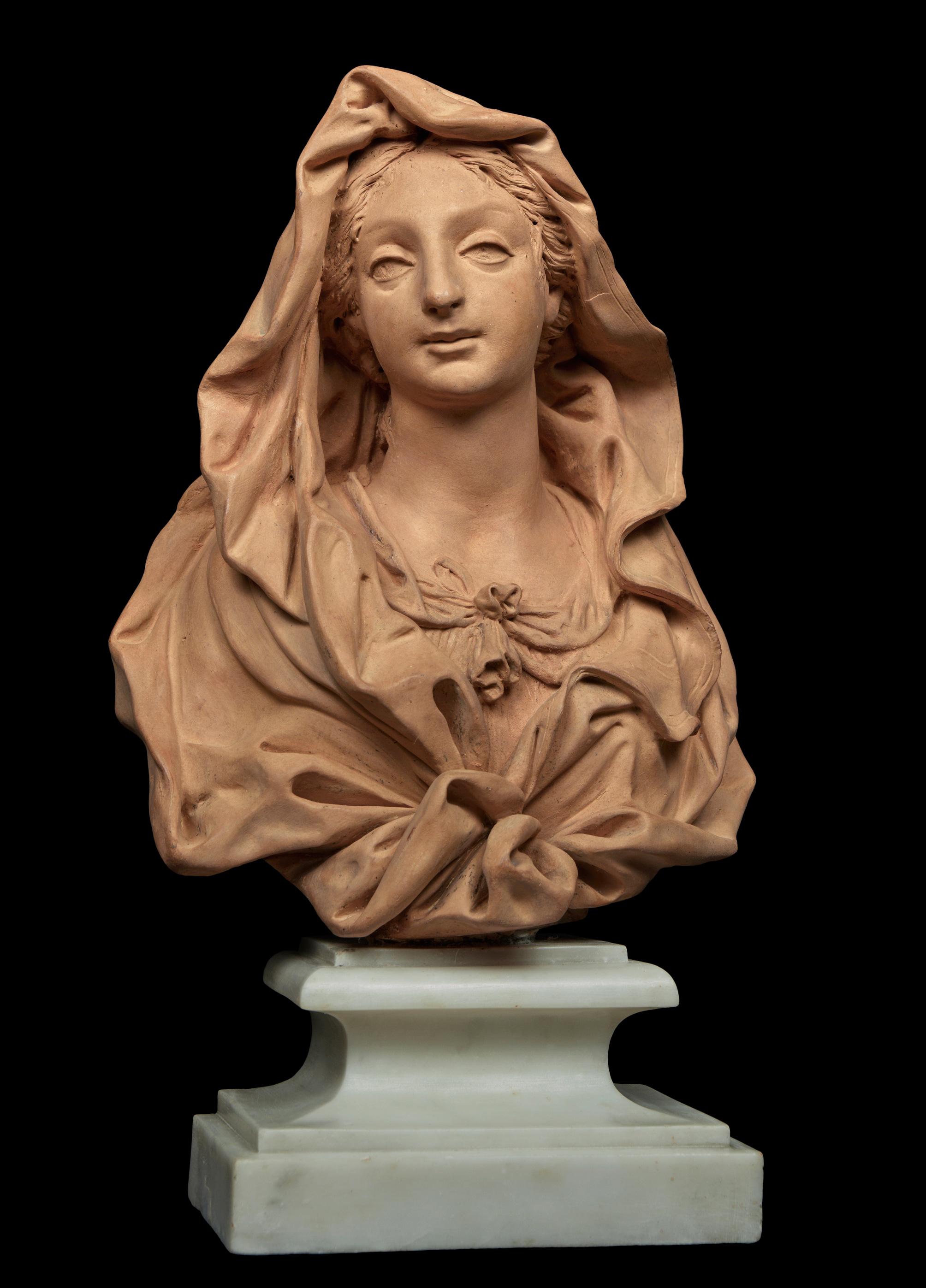 324070b6415 BUSTE DE LA VIERGE MARIE ATTRIBUÉ À GIUSEPPE MAZZUOLI SIENNE - 1644 - ROME  - 1725. VERS 1710 -1720. Terre-cuite sur piédouche en marbre blanc